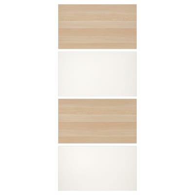 MEHAMN 4 panelen voor frame schuifdeur, wit gelazuurd eikeneffect/wit, 100x236 cm