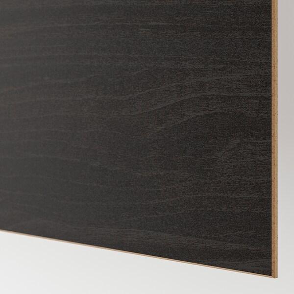 MEHAMN 4 panelen voor frame schuifdeur, zwartbruingelazuurd esseneffect/bruin gelazuurd essenpatroon, 100x236 cm
