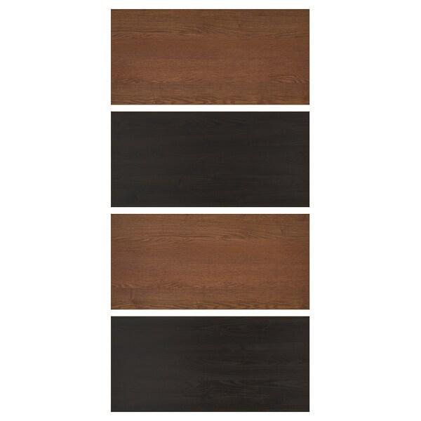 Mehamn 4 Panelen Voor Frame Schuifdeur Zwartbruingelazuurd Esseneffect Bruin Gelazuurd Essenpatroon 100x201 Cm Ikea
