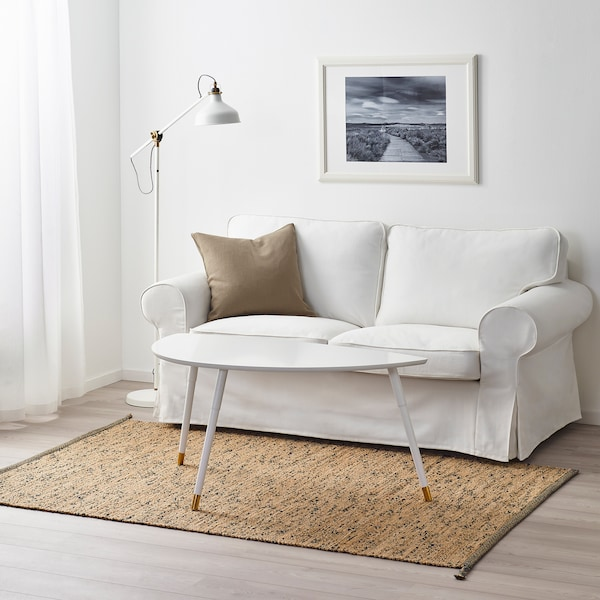 MELHOLT Vloerkleed, glad geweven, handgemaakt naturel/donkerblauw, 133x195 cm