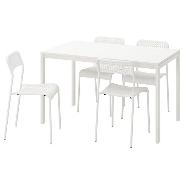 MELLTORP / ADDE Tafel en 4 stoelen, wit, 125 cm
