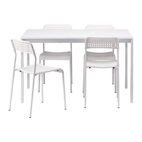 MELLTORP / ADDE Tafel en 4 stoelen IKEA Het tafelblad van melamine is ...