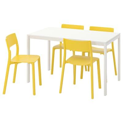 MELLTORP / JANINGE Tafel en 4 stoelen, wit/geel, 125 cm
