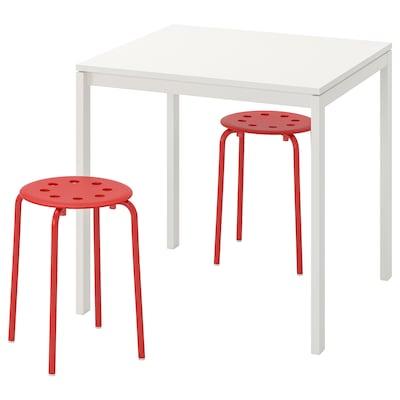 MELLTORP / MARIUS Tafel en 2 krukken, wit/rood, 75 cm