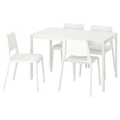 MELLTORP / TEODORES Tafel en 4 stoelen, wit, 125 cm