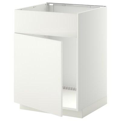 METOD onderkast v spoelb m deur/front wit/Häggeby wit 60.0 cm 61.6 cm 88.0 cm 60.0 cm 80.0 cm