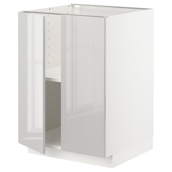 METOD onderkast met plank/2 deuren wit/Ringhult lichtgrijs 60.0 cm 61.6 cm 88.0 cm 60.0 cm 80.0 cm