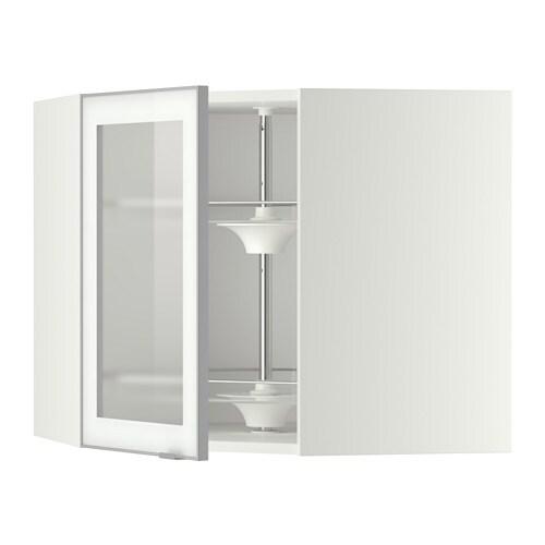 metod bovenhoekkast carrousel vitrinedeur wit jutis frosted glas aluminium 68x60 cm ikea. Black Bedroom Furniture Sets. Home Design Ideas
