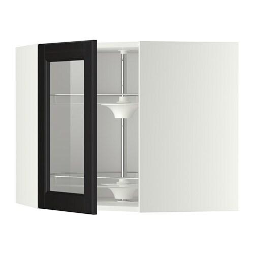 metod bovenhoekkast carrousel vitrinedeur wit laxarby zwartbruin 68x60 cm ikea. Black Bedroom Furniture Sets. Home Design Ideas