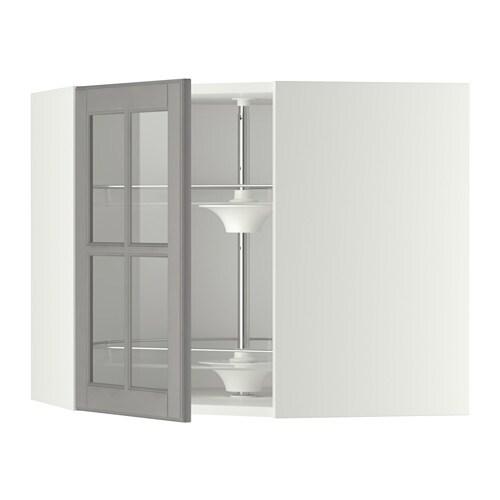 metod bovenhoekkast carrousel vitrinedeur wit bodbyn grijs 68x60 cm ikea. Black Bedroom Furniture Sets. Home Design Ideas