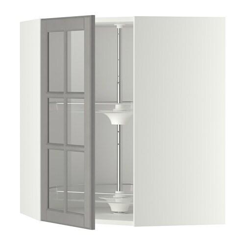 metod bovenhoekkast carrousel vitrinedeur wit bodbyn grijs 68x80 cm ikea. Black Bedroom Furniture Sets. Home Design Ideas