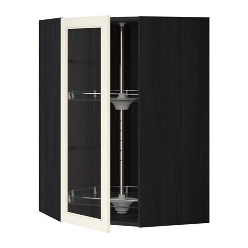 metod bovenhoekkast carrousel vitrinedeur houteffect zwart hittarp ecru 68x100 cm ikea. Black Bedroom Furniture Sets. Home Design Ideas