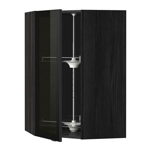 metod bovenhoekkast carrousel vitrinedeur houteffect zwart jutis rookkleurig glas zwart. Black Bedroom Furniture Sets. Home Design Ideas