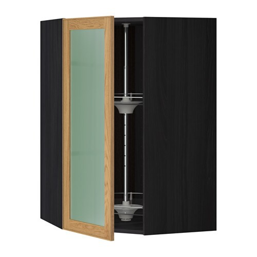 metod bovenhoekkast carrousel vitrinedeur houteffect zwart ekestad eiken 68x100 cm ikea. Black Bedroom Furniture Sets. Home Design Ideas