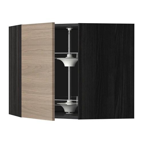 metod bovenhoekkast met carrousel houteffect zwart brokhult walnootpatroon lichtgrijs 68x60. Black Bedroom Furniture Sets. Home Design Ideas