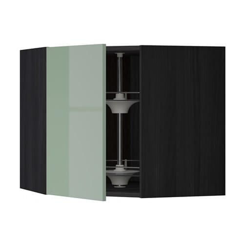 metod bovenhoekkast met carrousel houteffect zwart kallarp hoogglans lichtgroen 68x60 cm ikea. Black Bedroom Furniture Sets. Home Design Ideas