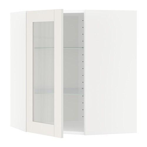 Vitrine Hoekkast Wit.Metod Bovenhoekkast Met Plank Vitrinedeur Wit Savedal Wit 68x80