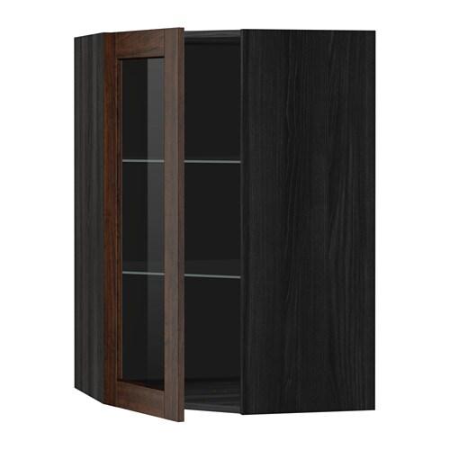 Metod bovenhoekkast met plank vitrinedeur houteffect zwart edserum houteffect bruin 68x100 - Kleur plank ...