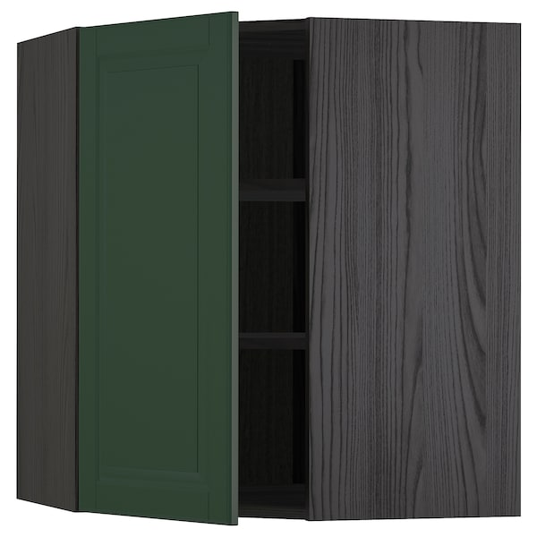 METOD Bovenhoekkast met planken, zwart/Bodbyn donkergroen, 68x80 cm