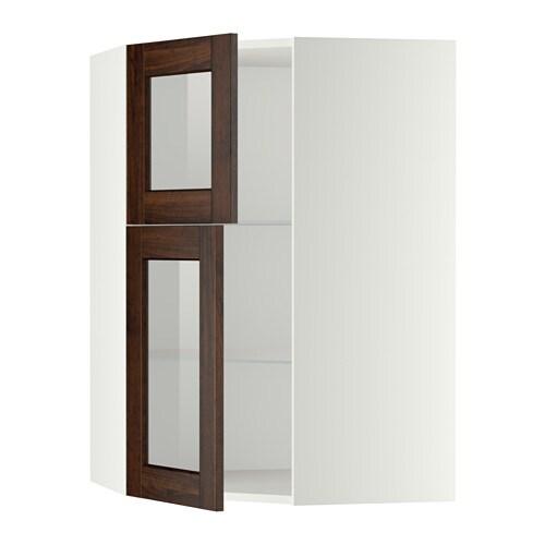 Metod bovenhoekkast plank 2 vitrinedeuren wit edserum houtpatroon bruin ikea - Kleur plank ...