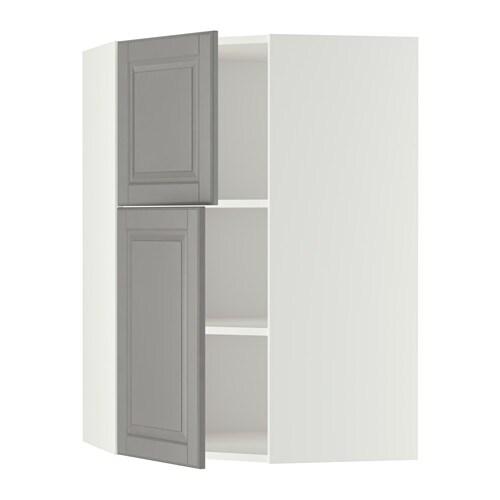 Metod bovenhoekkast plank 2 deuren wit bodbyn grijs ikea - Kleur plank ...
