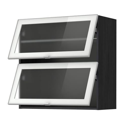 metod bovenkast horizont m 2 vitrinedeur houteffect zwart jutis frosted glas aluminium 80x80. Black Bedroom Furniture Sets. Home Design Ideas