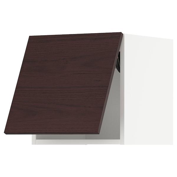 METOD Bovenkast horizontaal m drukopening, wit Askersund/donkerbruin essenpatroon, 40x40 cm