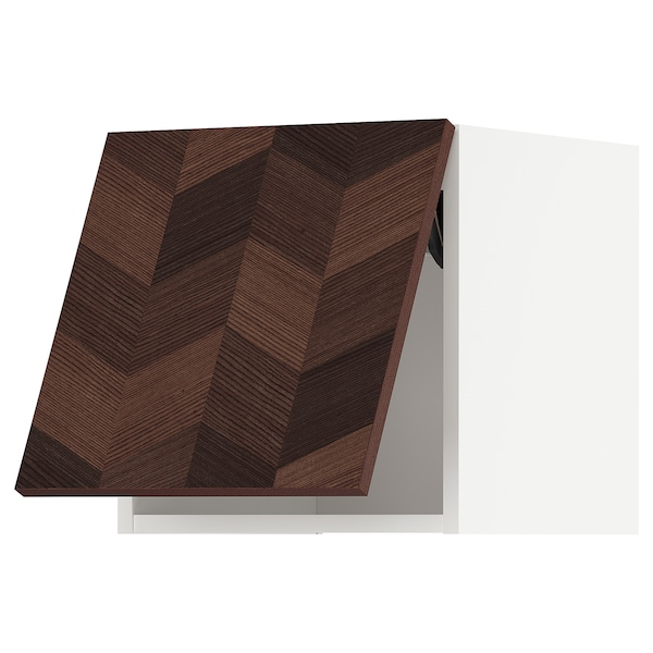 METOD Bovenkast horizontaal, wit Hasslarp/bruin met een patroon, 40x40 cm