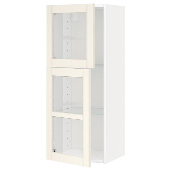 METOD Bovenkast m planken/2 vitrinedeuren, wit/Hittarp ecru, 40x100 cm