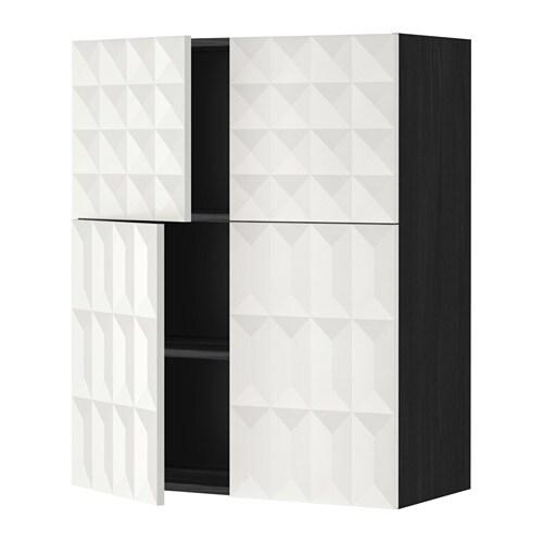 METOD Bovenkast m planken  4 deuren   Herrestad wit, houteffect zwart   IKEA