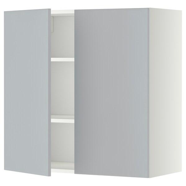 METOD Bovenkast met planken/2 deuren, wit/Veddinge grijs, 80x80 cm