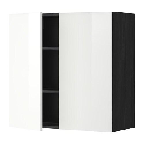 METOD Bovenkast met planken  2 deuren   houteffect zwart, Ringhult hoogglans wit, 80×80 cm   IKEA