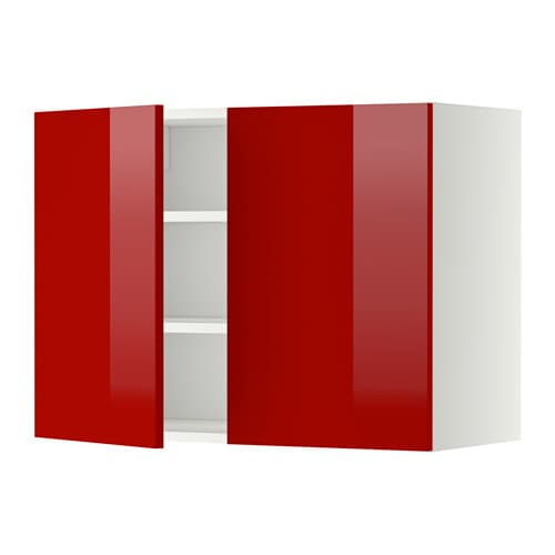 Keuken Rood Grijs : 2 Door Wall Cabinet with Shelves