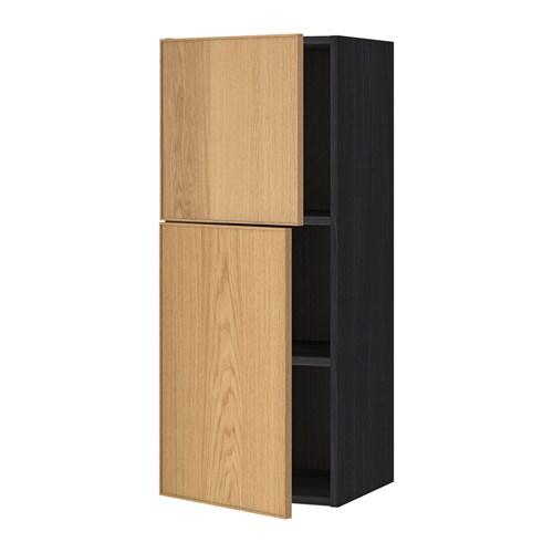 METOD Bovenkast met planken  2 deuren   houteffect zwart, Ekestad eiken, 40×100 cm   IKEA