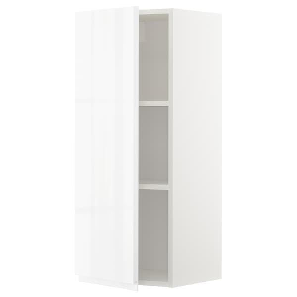METOD Bovenkast met planken, wit/Voxtorp hoogglans/wit, 40x100 cm