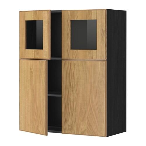 Metod bovenkast plank 2deur 2vitrinedeur houteffect zwart hyttan eikenfineer ikea - Kleur plank ...
