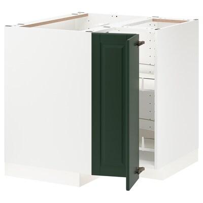 METOD onderhoekkast met carrousel wit/Bodbyn donkergroen 87.5 cm 88.0 cm 87.5 cm 80.0 cm