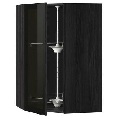 METOD bovenhoekkast&carrousel/vitrinedeur zwart/Jutis rookkleurig glas 67.5 cm 67.5 cm 100.0 cm