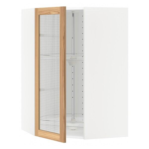 METOD bovenhoekkast&carrousel/vitrinedeur wit/Torhamn essen 67.5 cm 67.5 cm 100.0 cm