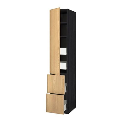 Metod f rvara hoge kast plank 4 lade deur 2 front houteffect zwart ekestad eiken 40x60x220 - Kleur plank ...