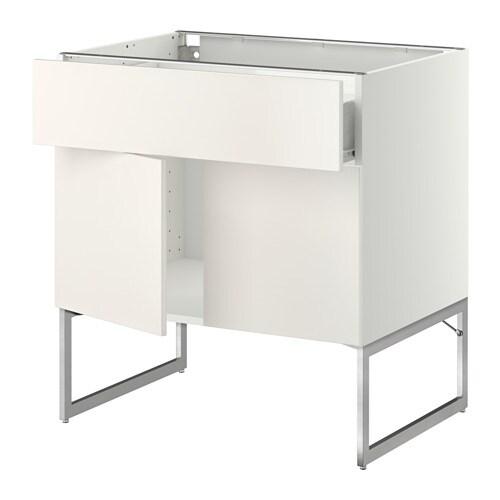 metod f rvara onderkast met plank lade 2 deuren wit veddinge wit ikea. Black Bedroom Furniture Sets. Home Design Ideas
