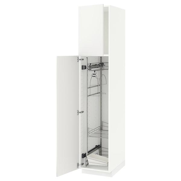 METOD Hoge kast & inrichting schoonmkast, wit/Häggeby wit, 40x60x200 cm