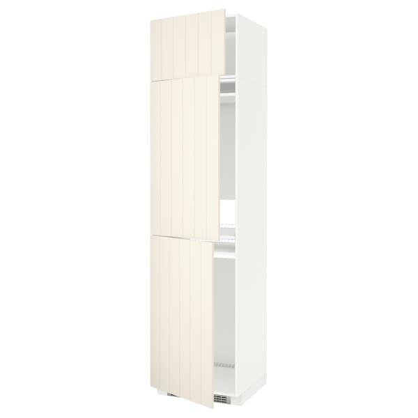 METOD Hoge kast koelk/vriezer + 3 deuren, wit/Hittarp ecru, 60x60x240 cm