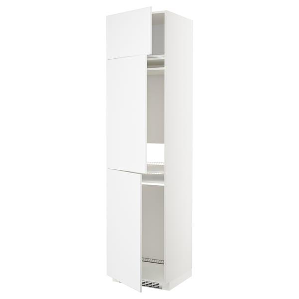 METOD Hoge kast koelk/vriezer + 3 deuren, wit/Kungsbacka mat wit, 60x60x240 cm