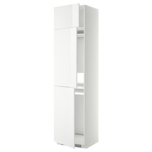 METOD Hoge kast koelk/vriezer + 3 deuren, wit/Ringhult wit, 60x60x240 cm