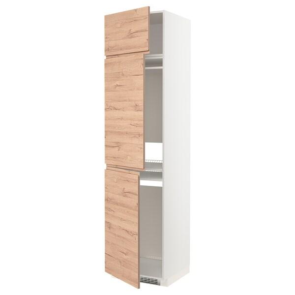 METOD Hoge kast koelk/vriezer + 3 deuren, wit/Voxtorp eikenpatroon, 60x60x240 cm