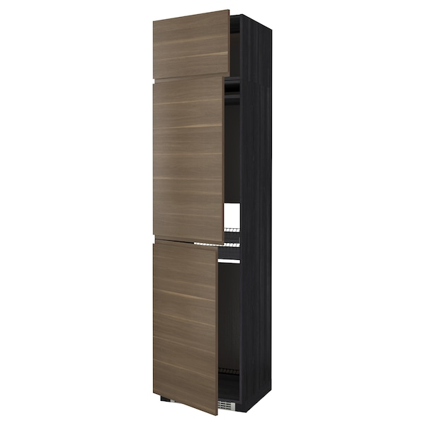 METOD Hoge kast koelk/vriezer + 3 deuren, zwart/Voxtorp walnootpatroon, 60x60x240 cm