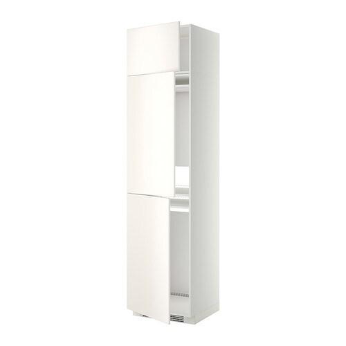 METOD Hoge kast koelk  vriezer + 3 deuren   wit, Veddinge wit   IKEA