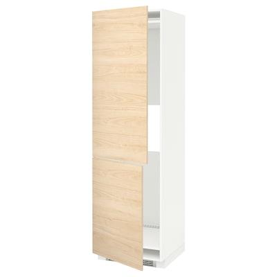METOD Hoge kast koelkast of vriezer 2 deu, wit/Askersund licht essenpatroon, 60x60x200 cm