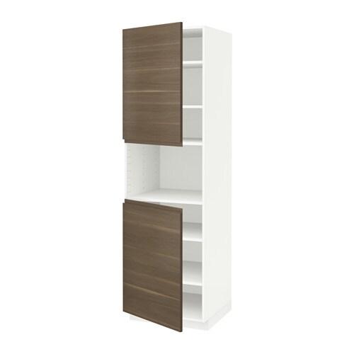 Metod hoge kast magn m 2deur plank wit voxtorp walnootpatroon 60x60x200 cm ikea - Kleur plank ...